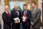 Minister Fergus O'Dowd (centre) and Welsh Government Minister Alun Davies reviewing progress on the Celtic Sea Trout Project with Dr. William Roche (left) and Dr. Cathal Gallagher (right) from Inland Fisheries Ireland